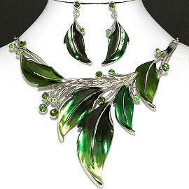 "20"" Necklace Earring Set Leaf Leaves Green Silver Tone FNE751"