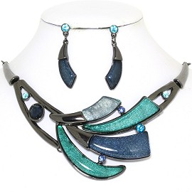 "20"" Necklace Earring Set Tooth Turquoise Dark Gray FNE764"