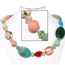 "20"" Necklace Mix Stone Quarts Oval Crystal Bead Multi Col FNE770"