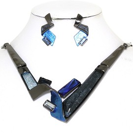 "20"" Necklace Earring Set Rectangles Blue Dark Gray FNE777"