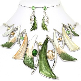"19"" Necklace Earring Set Line Shards Green Silver Tone FNE786"