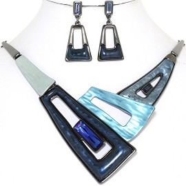 "20"" Necklace Earring Set Trapezoid Dark Blue Dark Gray FNE787"