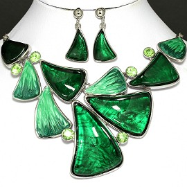 "20"" Necklace Earrings Crystal Green FNE790"