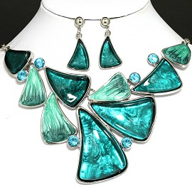 "20"" Necklace Earrings Crystal Teal Turquoise FNE792"