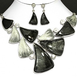 "20"" Necklace Earrings Crystal Black Gray FNE793"
