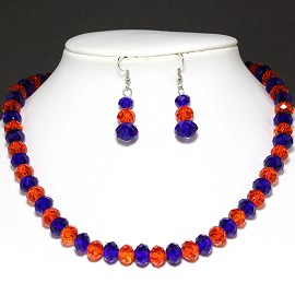 10mm Thick Crystal Set Necklace Earrings Blue Orange FNE803