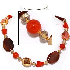 "20"" Necklace Mix Stone Quarts Oval Crystal Bead Orange Ma FNE809"