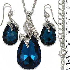 Necklace Earring Set Chain Tear Crystal Gem Silver Teal FNE826