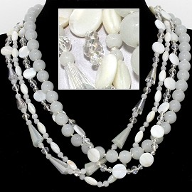 "20"" Four Line Necklace Mix Quarts Shape Crystal Bead Whit FNE827"