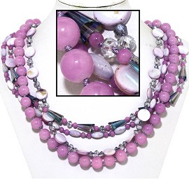 "20"" Four Line Necklace Mix Quarts Shape Crystal Bead Lave FNE829"
