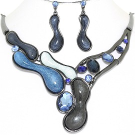 "20"" Necklace Earring Set Gem Peanut Gray Blue FNE830"