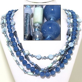 "20"" Four Line Necklace Mix Quarts Shape Crystal Bead LT B FNE863"