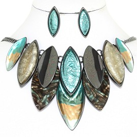 "20"" Necklace Earring Set Oval Point Gray Turquoise Ivory FNE866"