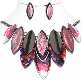 "20"" Necklace Earring Set Oval Point Gray Pink Red FNE867"