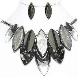 "20"" Necklace Earring Set Oval Point Gray Black FNE869"