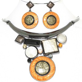 "19"" Necklace Earring Set Wheel Mix Shapes Gray Orange FNE872"