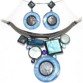 "19"" Necklace Earring Set Wheel Mix Shapes Gray Light Blue FNE874"