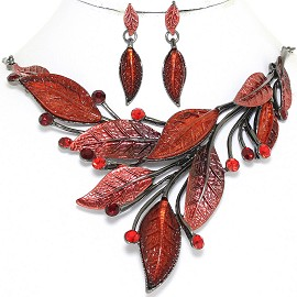 "20"" Necklace Earring Set Leaf Leaves Gray Red FNE876"