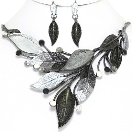 "20"" Necklace Earring Set Leaf Leaves Gray Black FNE877"