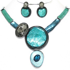 "20"" Necklace Earring Set Circles Oval Gray Turquoise Teal FNE881"