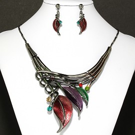 Necklace Earrings Set Multi Dark Gray Leaf FNE882