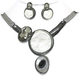 "20"" Necklace Earring Set Circles Oval Gray White FNE883"