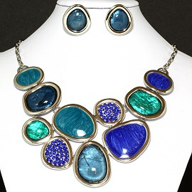 Necklace Earrings Set Circles Multi Colored Blue Teal FNE886