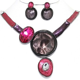 "20"" Necklace Earring Set Circles Oval Gray Purple Magenta FNE895"