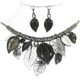 "20"" Necklace Earring Set Leaf Leaves Vine Gray Black Silv FNE904"