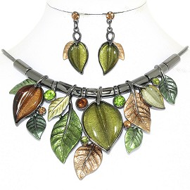 "20"" Necklace Earring Set Leaf Leaves Vine Gray Green FNE906"