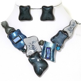 "19"" Necklace Earring Set Odd Rectangle Gray Dark Blue FNE910"
