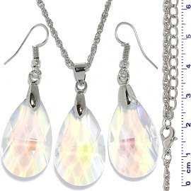 Necklace Earring Set Chain Teardrop Gem Silver AB Clear FNE915