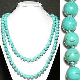 "1pc 48"" Earth Stone Necklace 10mm Beads Turquoise FNE921"