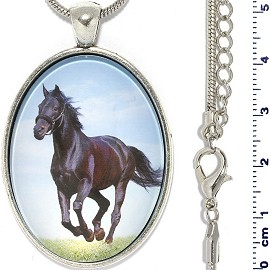 "Metallic 18"" Necklace Oval Horse Pendant Dark Brown Black FNE923"