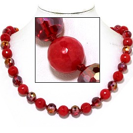 "20"" Necklace Crystal Ball Bead Magnetic Clasp Red AB FNE946"