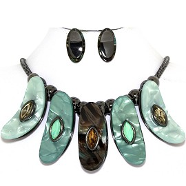 "19.5"" Necklace Earring Set Bent Oval Gem Gray Jade Green FNE947"