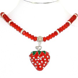 Strawberry Pendant Necklace Crystal Rhinestones Beads Red FNE949