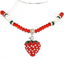 Strawberry Pendant Necklace Crystal Beads Red Green Clear FNE954