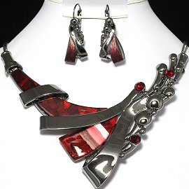 Necklace Earrings Set Line Gray Red FNE957