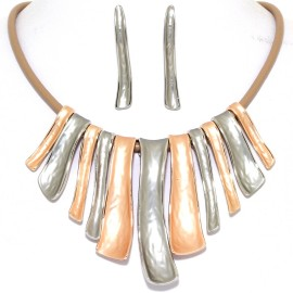 "16""-19"" Necklace Earrings Down Curve Lines Two Tone Tan FNE971"