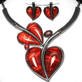 Antique Necklace Earring Set Heart Gray Red FNE975