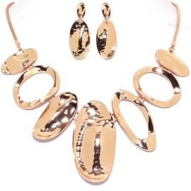 "17""-20"" Necklace Earrings Set Curve Oval Gold Tone FNE978"