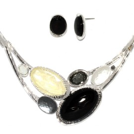 "17""-20"" Necklace Earrings Set Mix Oval BK Gem Silver Tone FNE983"