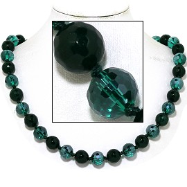 "20"" Necklace Crystal Ball Bead Magnetic Clasp Dark Green FNE986"
