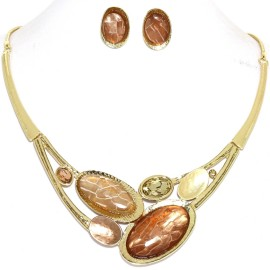 "17""-20"" Necklace Earrings Set Mix Oval Gem Tan Gold Tone FNE987"