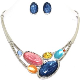 "17""-20"" Necklace Earrings Set Mix Oval Gem BL Silver Tone FNE990"
