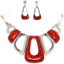 "17""-20"" Necklace Earrings Set Rectangle Gem Silver Red FNE991"