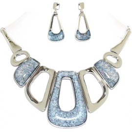 "17""-20"" Necklace Earrings Set Rectangle Gem Light Blue FNE996"