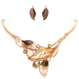 "16""-19"" Necklace Earrings Set Leaf Leaves Gem Gold Tone FNE998"