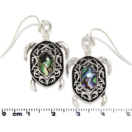 Abalone Earrings Sea Turtle Black Silver Tone Ger354